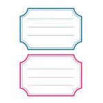 Pochette de 12 étiquettes scolaires autocollantes bord épais bleu et rouge