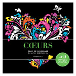 Bloc de coloriage Black Premium Cœurs